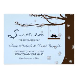 Love Birds Snowflake Oak Tree Winter Save the Date Card