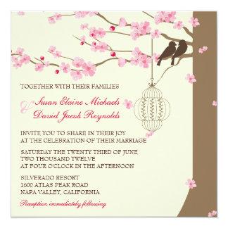Love Birds Vintage Cage Cherry Blossom Wedding 5.25x5.25 Square Paper Invitation Card