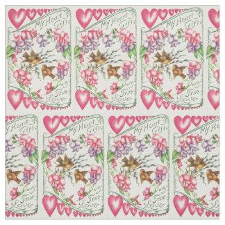 Love Birds Vintage Valentine's Day Fabric