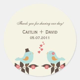 Love Birds Wedding Favor Stickers/Envelope Seals