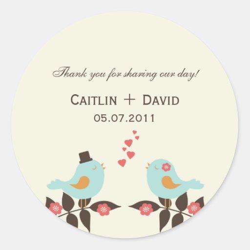 Love Birds Wedding Favor Stickers/Envelope Seals Stickers