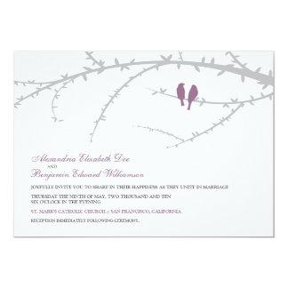 Love Birds Wedding Invitation (lavender)