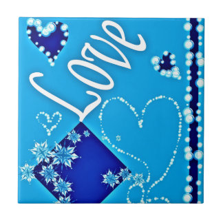 Love Blue All Small Square Tile