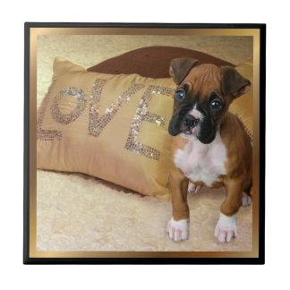 Love boxer dog Ceramic Tile