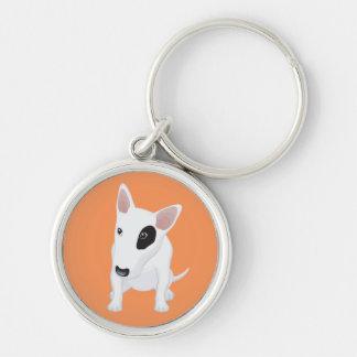 Love Bull Terrier Puppy Dog Orange Keychain