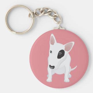 Love Bull Terrier Puppy Dog Pink Keychain