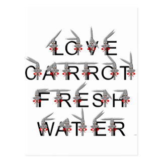 Love carrot and fresh water postcard