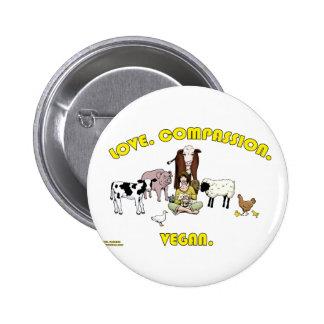 Love. Compassion. Vegan. 6 Cm Round Badge