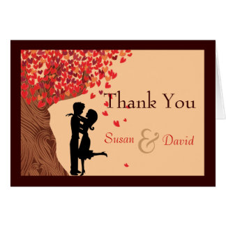 Love Couple Falling Hearts Oak Tree Thank You Note Card