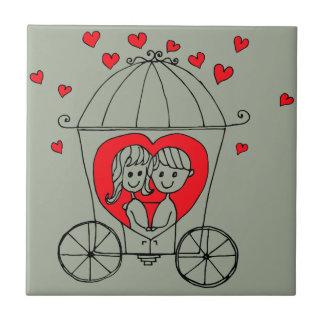 Love Couple Small Square Tile