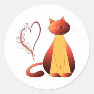 Love Cute Ginger Cat Digital Art Classic Round Sticker