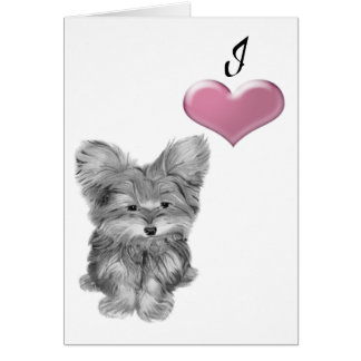 Love Cute Yorkie Dog Art with 3D Heart Note Card