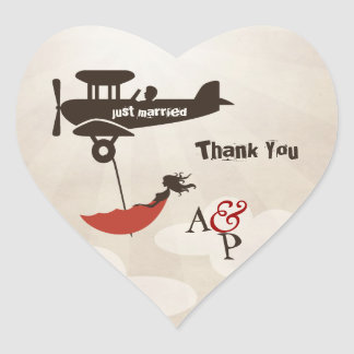 LOVE FLIGHT Thank You Wedding Sticker