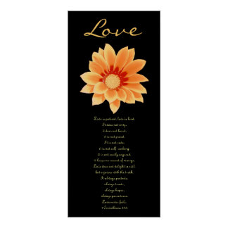 Love - Gold and Orange Daisy Poster