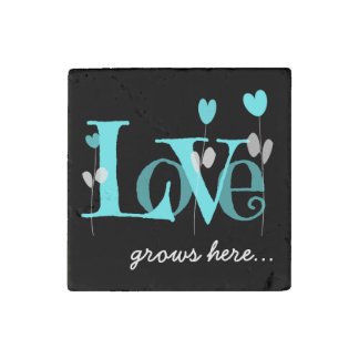 LOVE grows here, Aqua & Black Stone Magnet