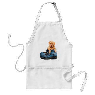 Love Heart Dogue de Bordeaux Puppy in a Boot Standard Apron