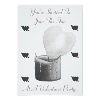 love heart flame red candle monochrome valentines 13 cm x 18 cm invitation card