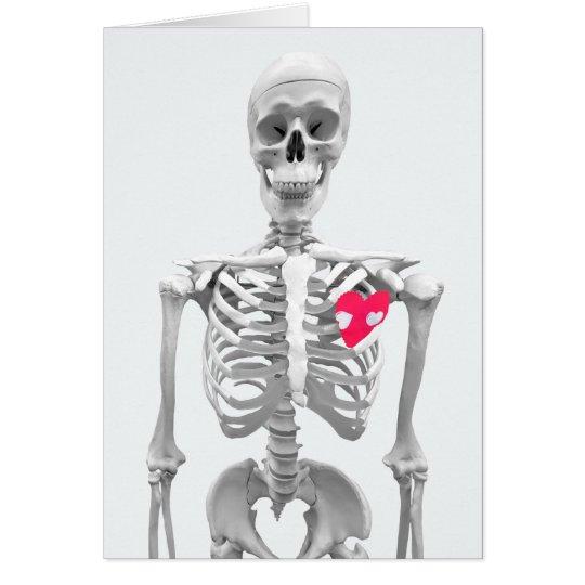 love heart on skeleton card