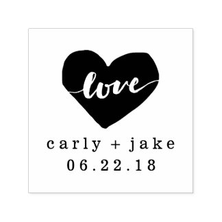 Love Heart Personalized Wedding Stamp