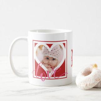 LOVE Heart Photo Frame (Two Photos) with Monogram Coffee Mug