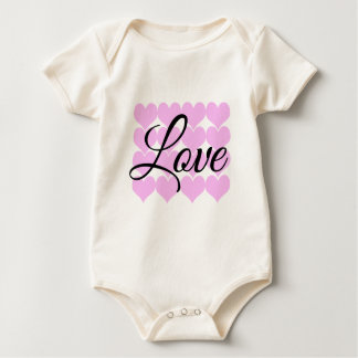 Love Heart Rows Baby Bodysuit