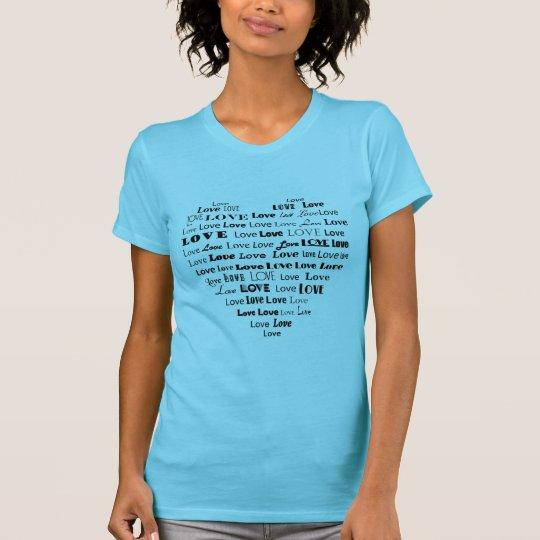 Love Heart Word Cloud in Black T-Shirt