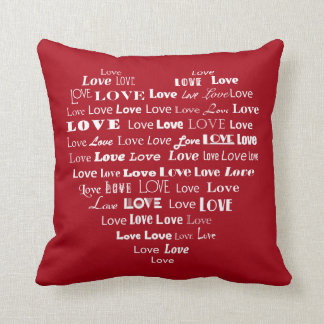 Love Heart Word Cloud - White on Dark Red Cushion