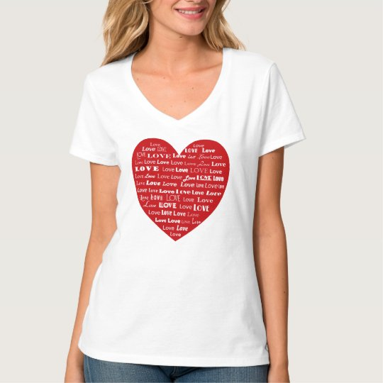 Love Heart Word Cloud, White on Deep Red T-Shirt