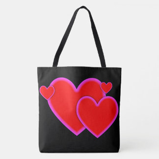 Love Hearts Red Purple Pink Border on Black Tote Bag