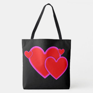 Love Hearts Red Purple Pink Custom Background Tote Bag