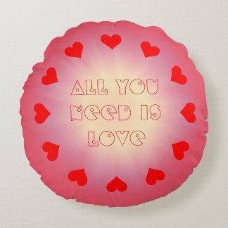 Love & Hearts Round Cushion