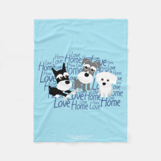 Love, Home - Custom Schnauzer Fleece Blanket 1