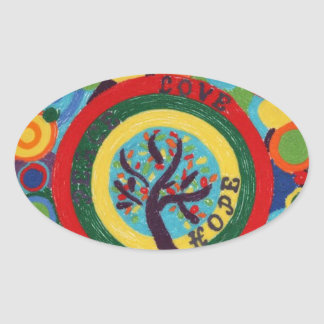 Love, Hope, Peace Oval Sticker