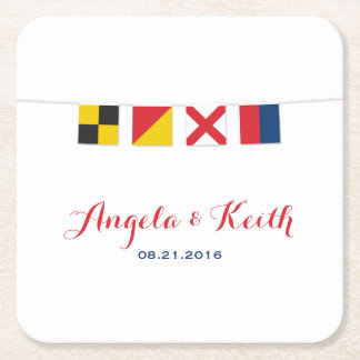 LOVE in Colorful Nautical Flags Square Paper Coaster