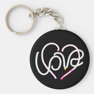 Love in Neon - Modern Romance Basic Round Button Key Ring