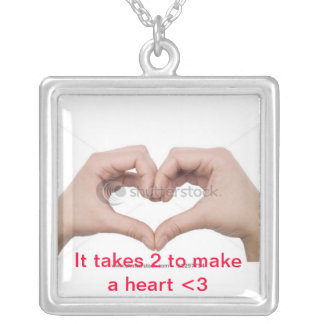 Love is 2 People Together :) Square Pendant Necklace