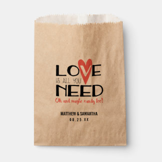 Love is all you Need Wedding Candy Bar Buffet Favour Bags
