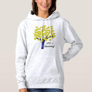 LOVE is blooming Cute Yellow Hearts Tree Design Hoodie