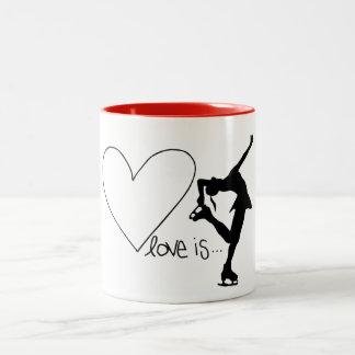 Love is Figure Skating, Girl Skater & Heart/RED Two-Tone Coffee Mug
