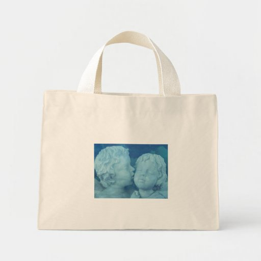 Love is in the Air, Vintage Stone Angels Kissing Canvas Bag