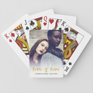 Love is Love | Gold Script Overlay Photo Playing Cards
