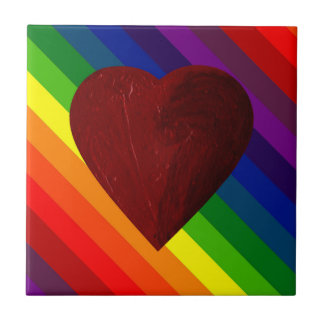 LOVE IS LOVE RAINBOW HEART ~ SMALL SQUARE TILE