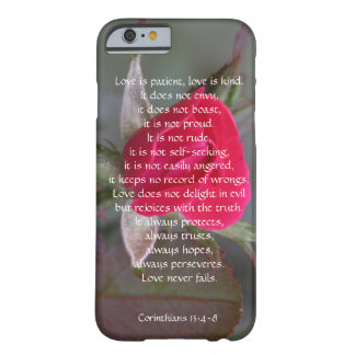 Love is Patient, Corinthians, Red Rose Bud Barely There iPhone 6 Case