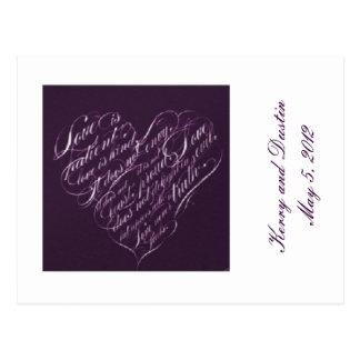 Love is Patient-Purple Heart RSVP Postcard