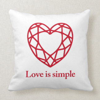 Love_is_simple cubic heart white throw pillow