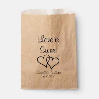 Love is sweet double heart kraft wedding party favour bags