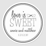 Love Is Sweet Labels (Black / Grey) Round Stickers