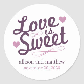 Love Is Sweet Old Fashioined Label (Plum / Purple) Round Sticker