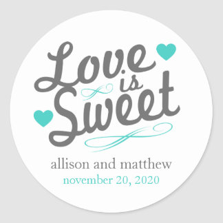 Love Is Sweet Old Fashioined Labels (Gray / Teal) Round Sticker