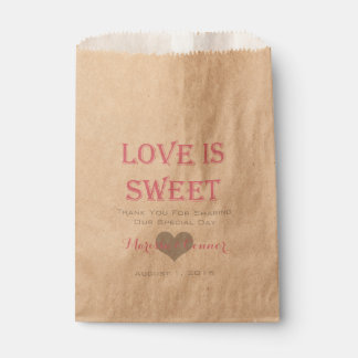 Love Is Sweet Pink and Silver Wedding Bags